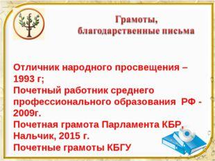 Отличник народного просвещения – 1993 г; Почетный работник среднего профессио