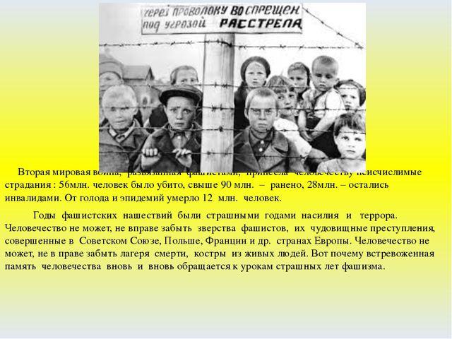 Вторая мировая война, развязанная фашистами, принесла человечеству неисчисли...