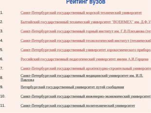 Рейтинг вузов 1.Санкт-Петербургский государственный морской технический у
