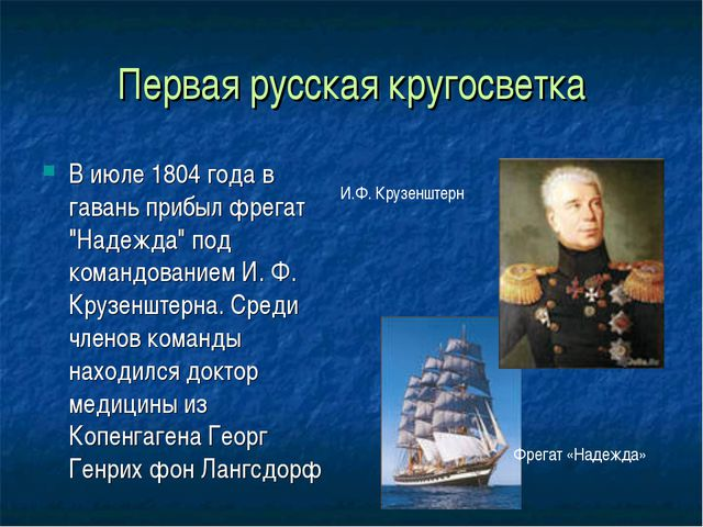 """Первая русская кругосветка В июле 1804 года в гавань прибыл фрегат """"Надежда""""..."""