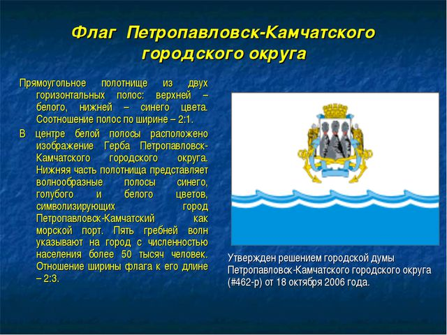 Флаг Петропавловск-Камчатского городского округа Прямоугольное полотнище из д...