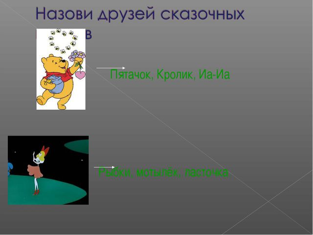 Пятачок, Кролик, Иа-Иа Рыбки, мотылёк, ласточка Мотырева Ирина Фёдоровна МОУ...