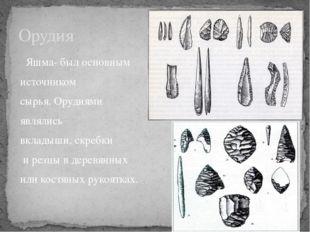 Яшма- был основным источником сырья. Орудиями являлись вкладыши, скребки и р