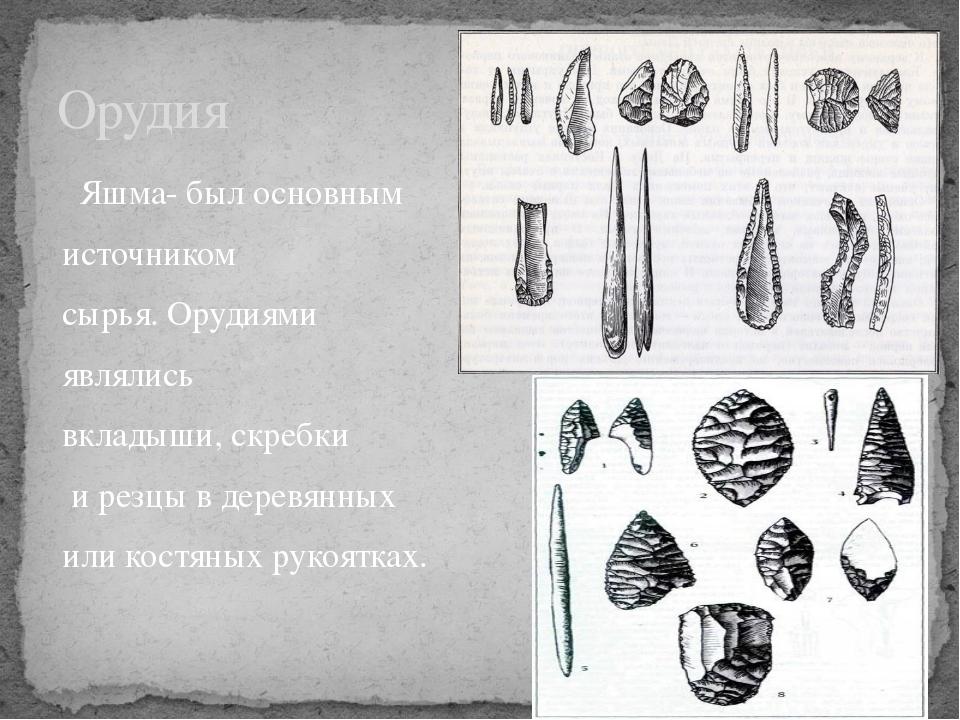 Яшма- был основным источником сырья. Орудиями являлись вкладыши, скребки и р...