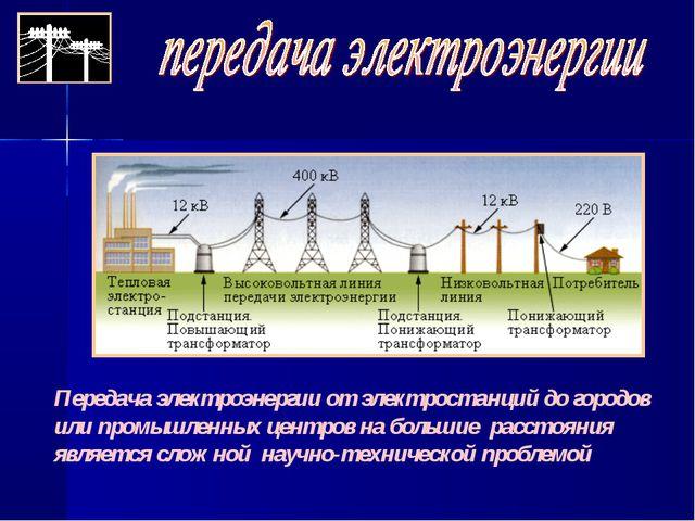 Передача электроэнергии от электростанций до городов или промышленных центров...