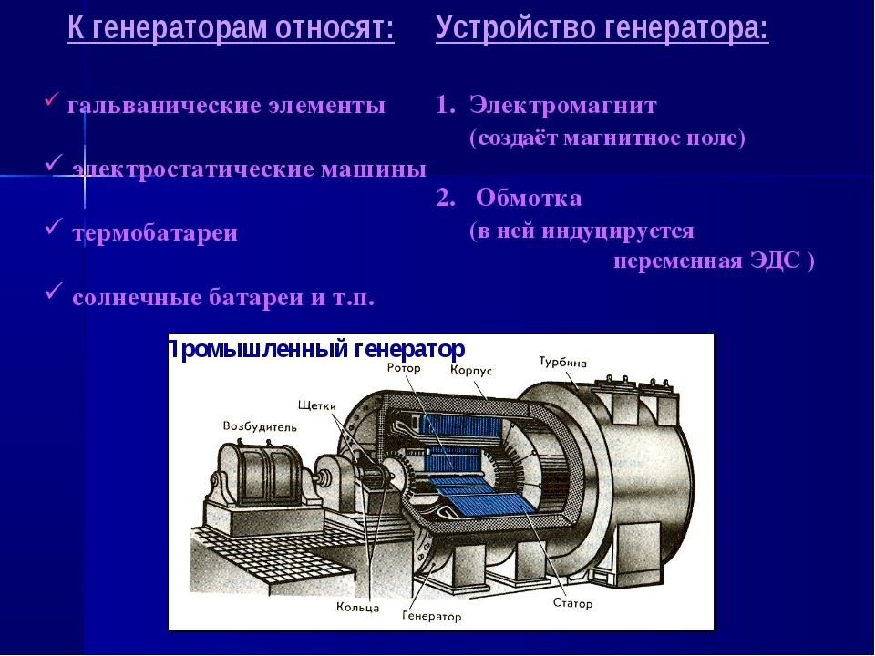 К генераторам относят: гальванические элементы электростатические машины тер...