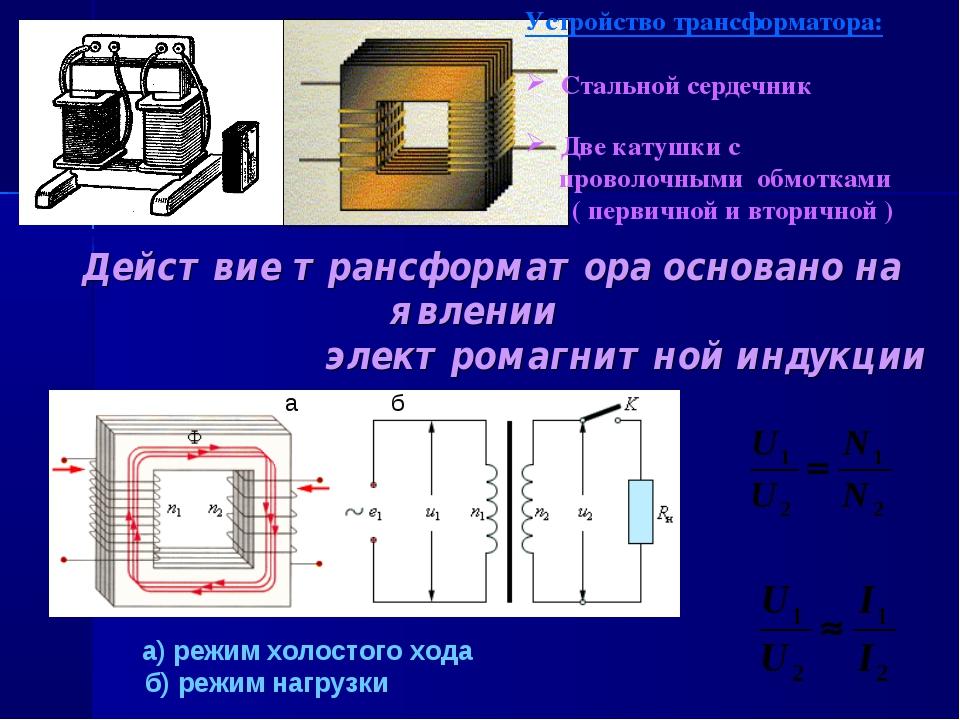 a б а) режим холостого хода б) режим нагрузки Устройство трансформатора: Стал...