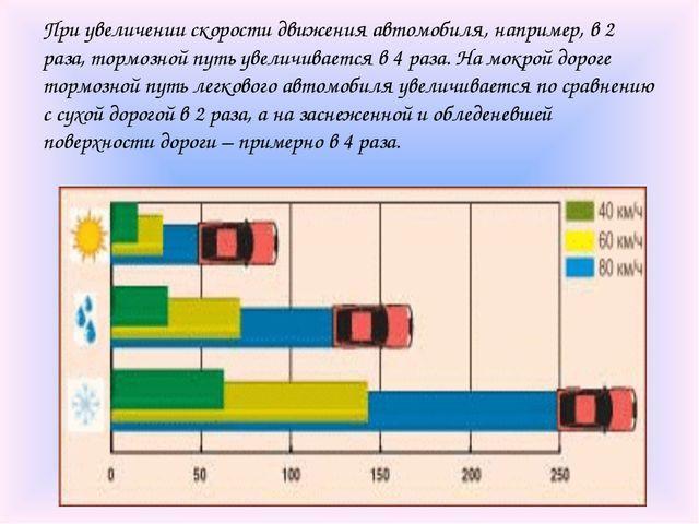 При увеличении скорости движения автомобиля, например, в 2 раза, тормозной пу...