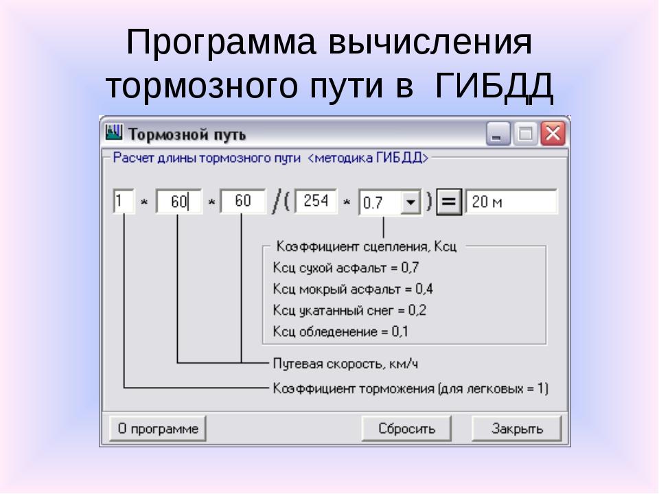 Программа вычисления тормозного пути в ГИБДД