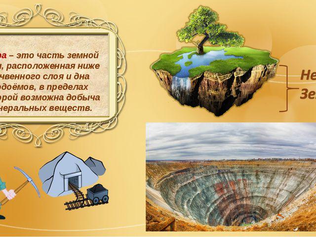 Недра – это часть земной коры, расположенная ниже почвенного слоя и дна водоё...