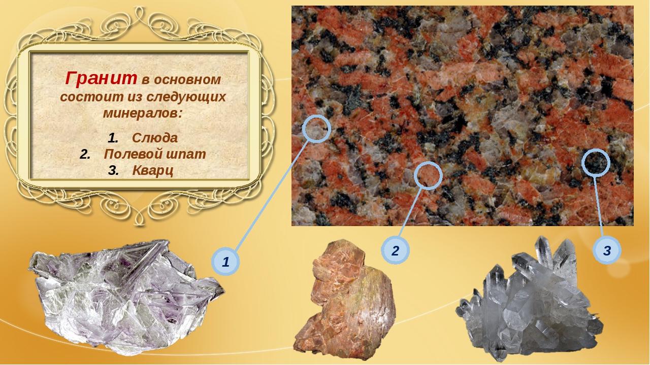 Гранит в основном состоит из следующих минералов: Слюда Полевой шпат Кварц 1...