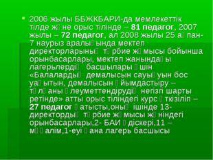 2006 жылы ББЖКБАРИ-да мемлекеттік тілде және орыс тілінде – 81 педагог, 2007