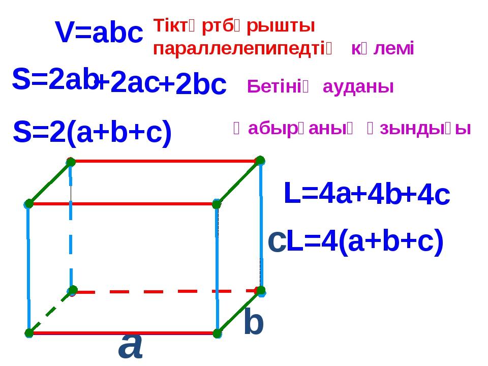 a c V=abc S=2ab S=2(a+b+c) L=4(a+b+c) L=4a b Тіктөртбұрышты параллелепипедті...
