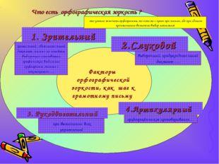 Факторы орфографической зоркости, как шаг к грамотному письму 1. Зрительный 2
