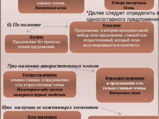 ТИПЫ ПРЕДЛОЖЕНИЙ (продолжение) 5) по количеству главных членов Односоставное