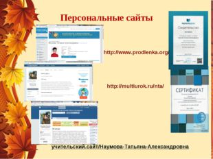 Персональные сайты http://multiurok.ru/nta/ http://www.prodlenka.org/ учитель