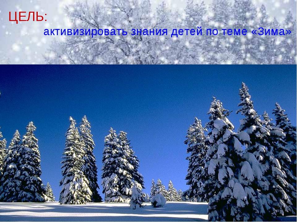 ЦЕЛЬ: активизировать знания детей по теме «Зима»