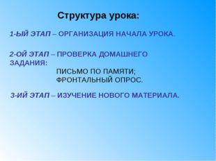 3-ИЙ ЭТАП – ИЗУЧЕНИЕ НОВОГО МАТЕРИАЛА. Структура урока: 1-ЫЙ ЭТАП – ОРГАНИЗАЦ