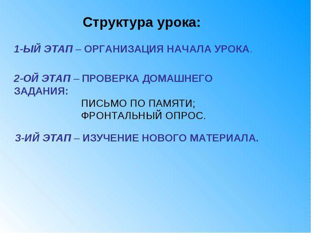 3-ИЙ ЭТАП – ИЗУЧЕНИЕ НОВОГО МАТЕРИАЛА. Структура урока: 1-ЫЙ ЭТАП – ОРГАНИЗАЦ...