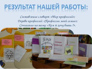 Составление словаря: «Мир профессий»; Дерево профессий: «Профессии моей семьи