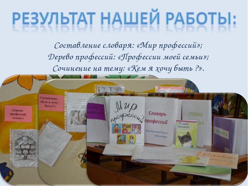Составление словаря: «Мир профессий»; Дерево профессий: «Профессии моей семьи...