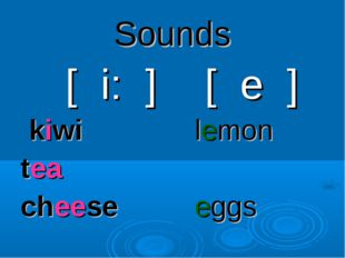 Sounds [ i: ] kiwi tea cheese [ e ] lemon eggs