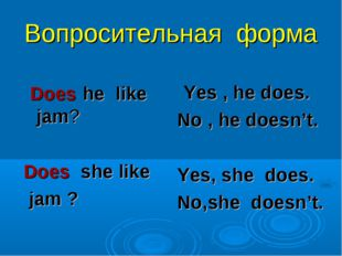 Вопросительная форма Does he like jam? Does she like jam ? Yes , he does. No