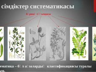 Бұршақ тұқымдасы Өсімдіктер систематикасы Систематика – бұл ағзалардың класси