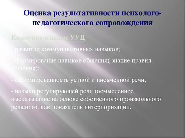 Оценка результативности психолого-педагогического сопровождения Коммуникативн...