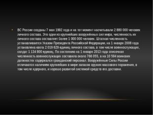 ВС России созданы 7 мая 1992 года и на тот момент насчитывали 2 880 000 чело