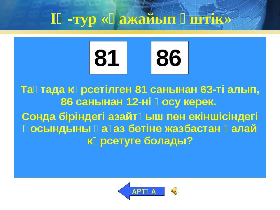 ІҮ-тур «Ғажайып үштік» АРТҚА 86 81
