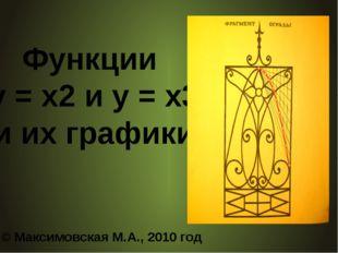 Функции у = х2 и у = х3 и их графики © Максимовская М.А., 2010 год
