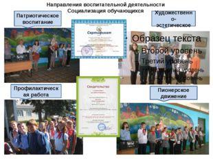Направления воспитательной деятельности Социализация обучающихся Пионерское
