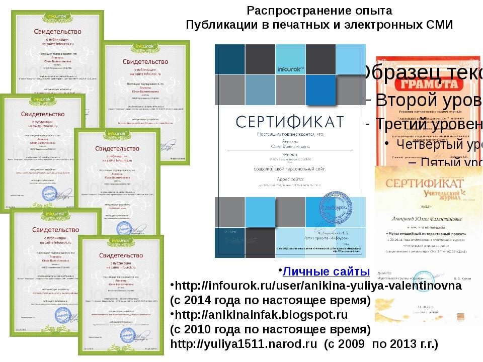Распространение опыта Публикации в печатных и электронных СМИ Личные сайты h...
