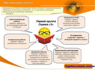 Организация опыта Подробное описание контроля на «4», «5» Математик не только