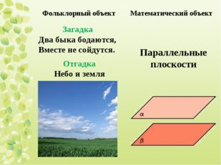 Отгадка Небо и земля Загадка Два быка бодаются, Вместе не сойдутся. Параллель