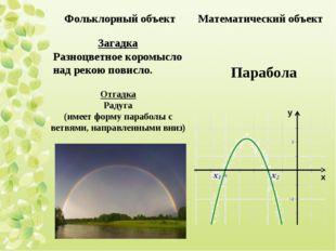 Отгадка Радуга (имеет форму параболы с ветвями, направленными вниз) Загадка Р