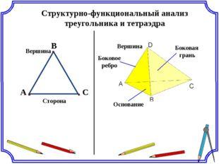 Структурно-функциональный анализ треугольника и тетраэдра A С В Сторона Верши