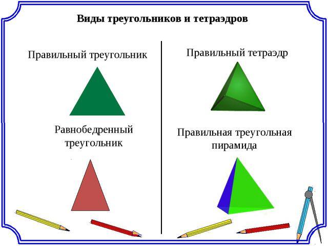 Виды треугольников и тетраэдров Правильный треугольник Правильный тетраэдр Ра...