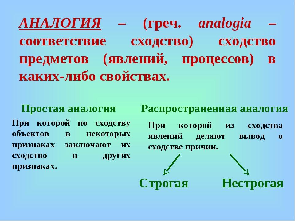 АНАЛОГИЯ – (греч. аnalogia – соответствие сходство) сходство предметов (явлен...