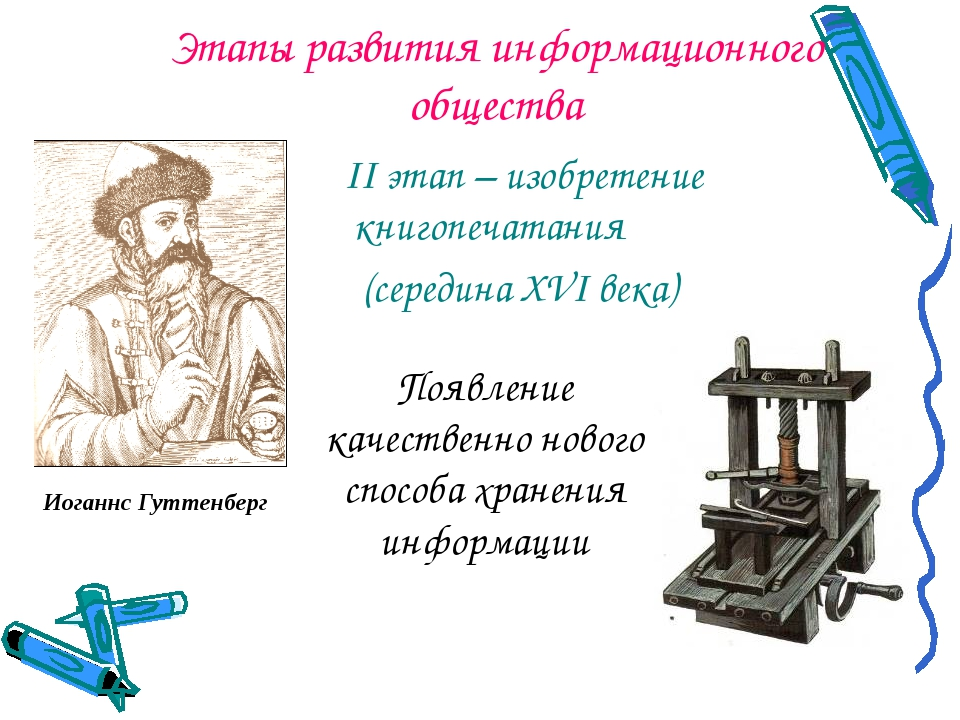 Этапы развития информационного общества II этап – изобретение книгопечатания...