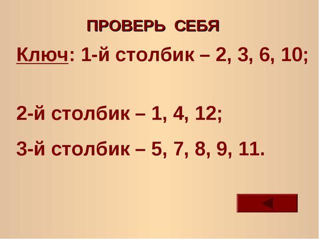 ПРОВЕРЬ СЕБЯ Ключ: 1-й столбик – 2, 3, 6, 10; 2-й столбик – 1, 4, 12; 3-й сто...