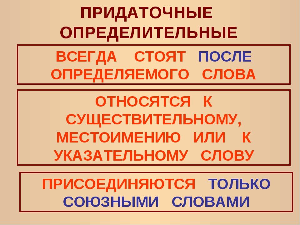 ПРИДАТОЧНЫЕ ОПРЕДЕЛИТЕЛЬНЫЕ ВСЕГДА СТОЯТ ПОСЛЕ ОПРЕДЕЛЯЕМОГО СЛОВА ОТНОСЯТСЯ...