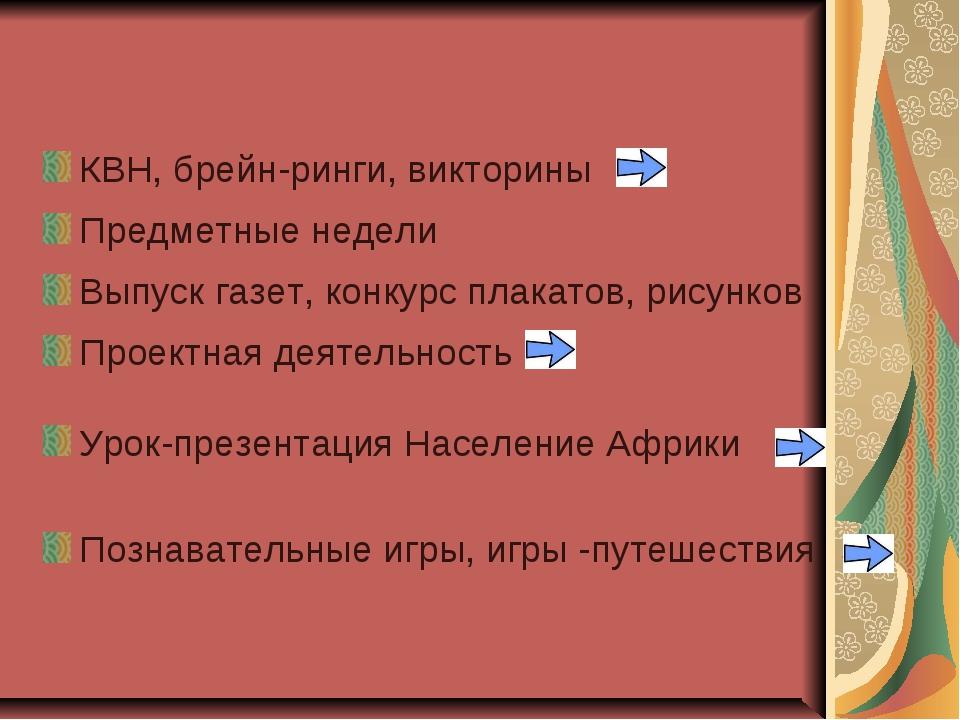 КВН, брейн-ринги, викторины Предметные недели Выпуск газет, конкурс плакатов,...