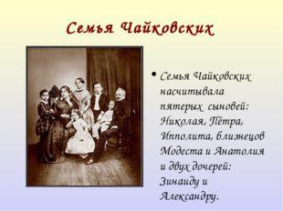 СемьяЧайковских Семья Чайковских насчитывала пятерых сыновей: Николая, Пётр