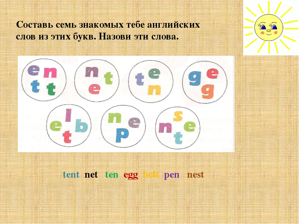 Составь семь знакомых тебе английских слов из этих букв. Назови эти слова. te...