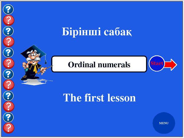 MENU Екінші кыркүйек Ordinal numerals The second of September