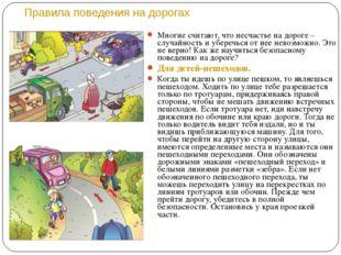 Правила поведения на дорогах Многие считают, что несчастье на дороге – случа