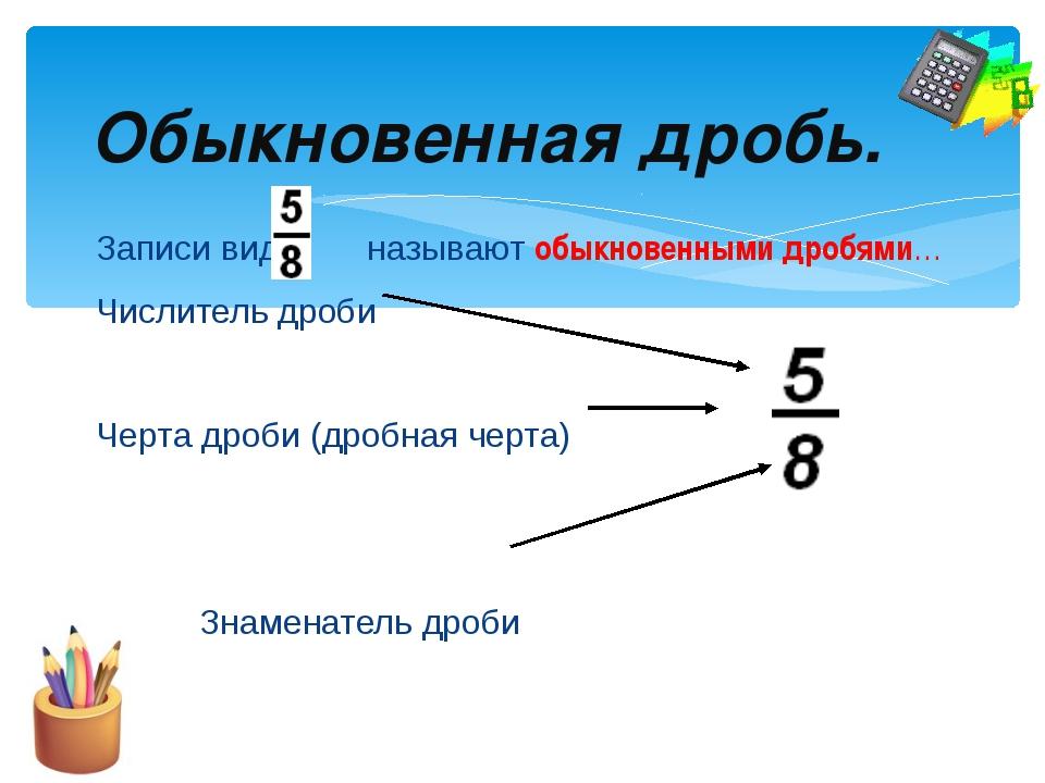 Записи вида называют обыкновенными дробями… Числитель дроби Черта дроби (д...