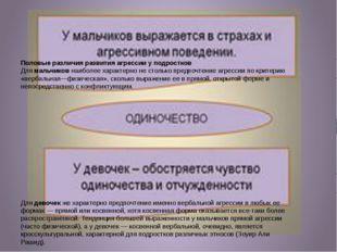 П Половые различия развития агрессии у подростков Длямальчиковнаиболее хар